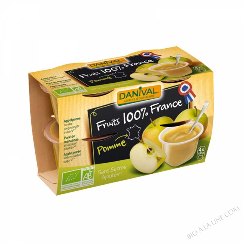 Danival dessert de Fruits pomme Nature sans sucre 4x110g