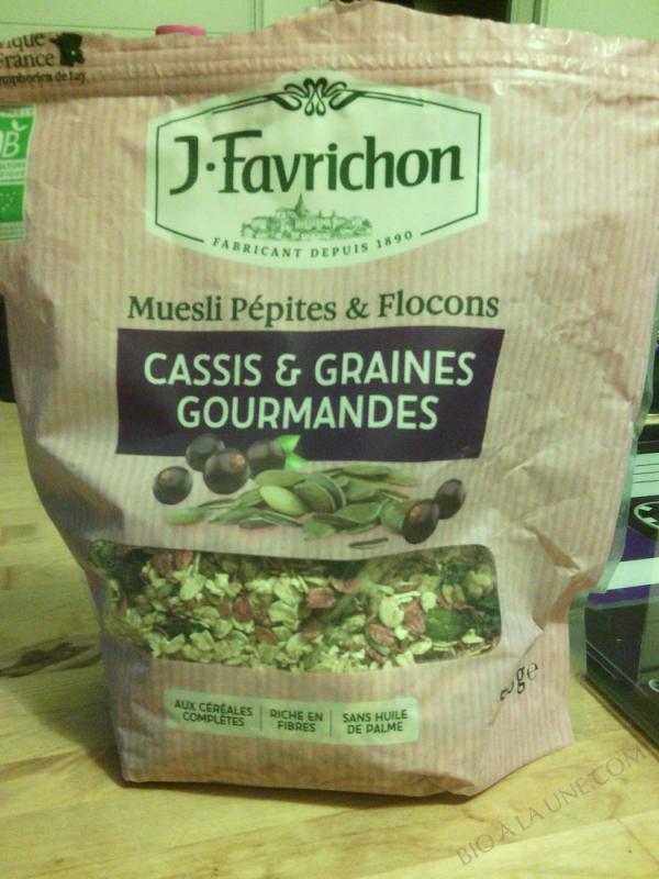 J.Favrichon Muesli pépites et Flocons Cassis Graines gourmandes Sachet refermable