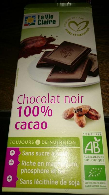 Chocolat noir 100% cacao - 100 g