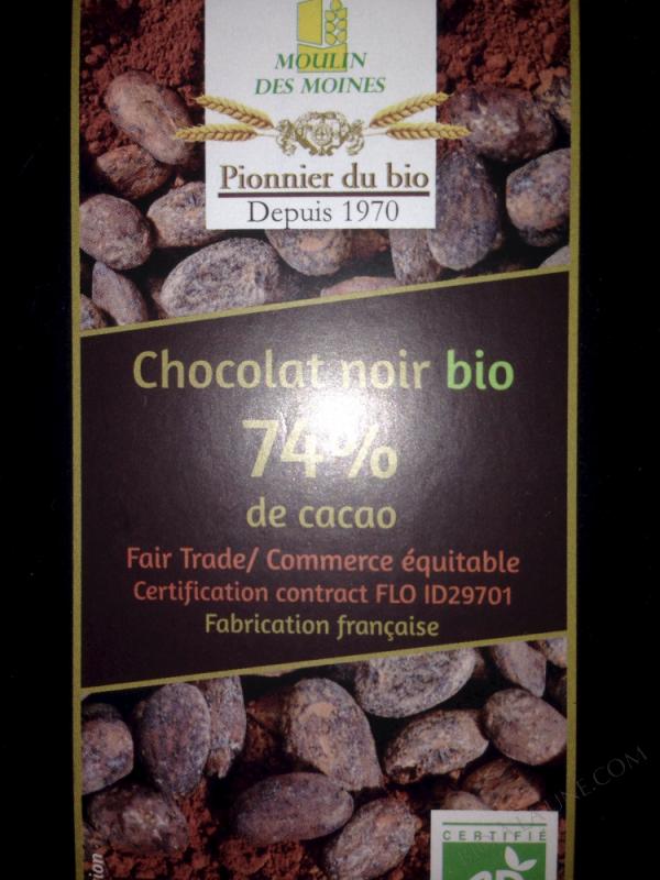 Chocolat noir 74% bio - 100g