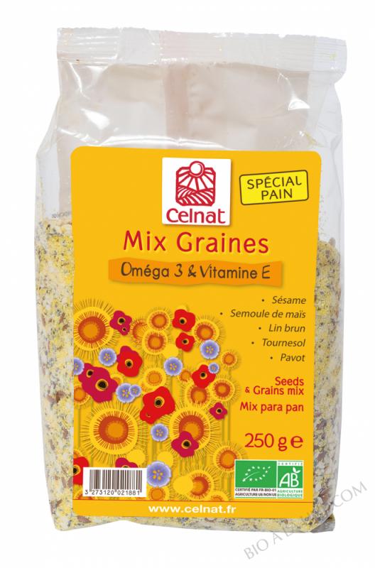 CELNAT MIX GRAINES Oméga 3 & Vitamine E BIO - 250g
