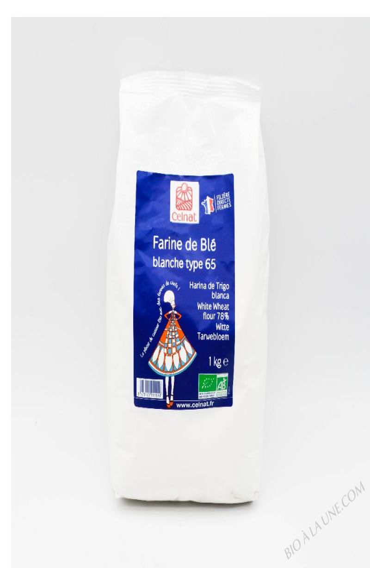 CELNAT Farine de Blé blanche Type 65 BIO - 1KG