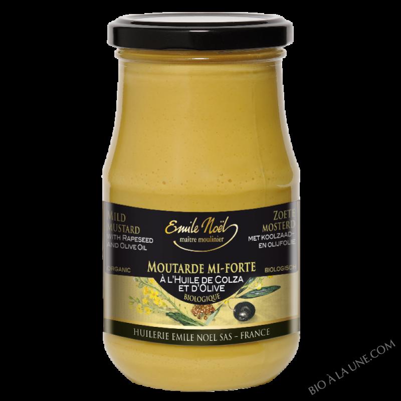 Moutarde mi-forte à l'huile d'olive et de colza bio - 190g