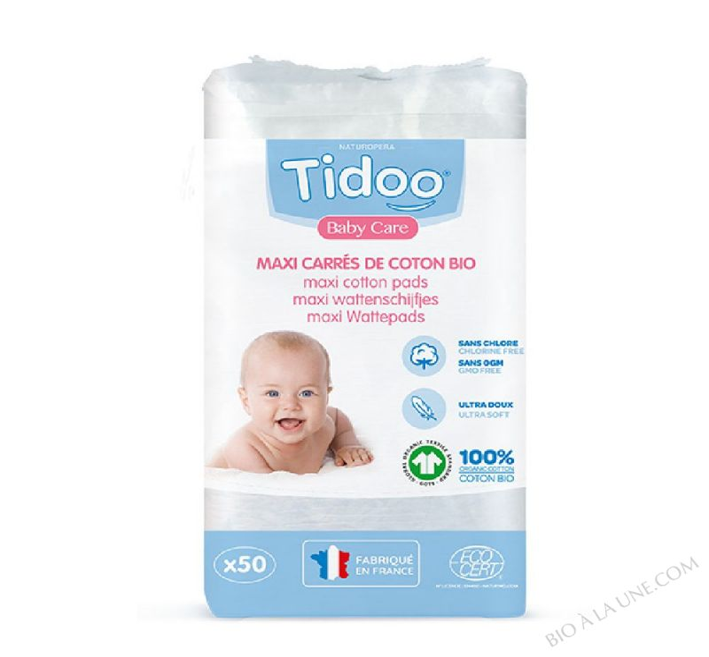 Maxi Carrés bébés en coton bio (x50)