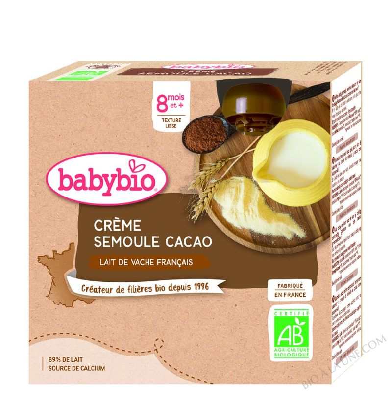 4 Gourdes Creme Cacao semoule des 8 mois