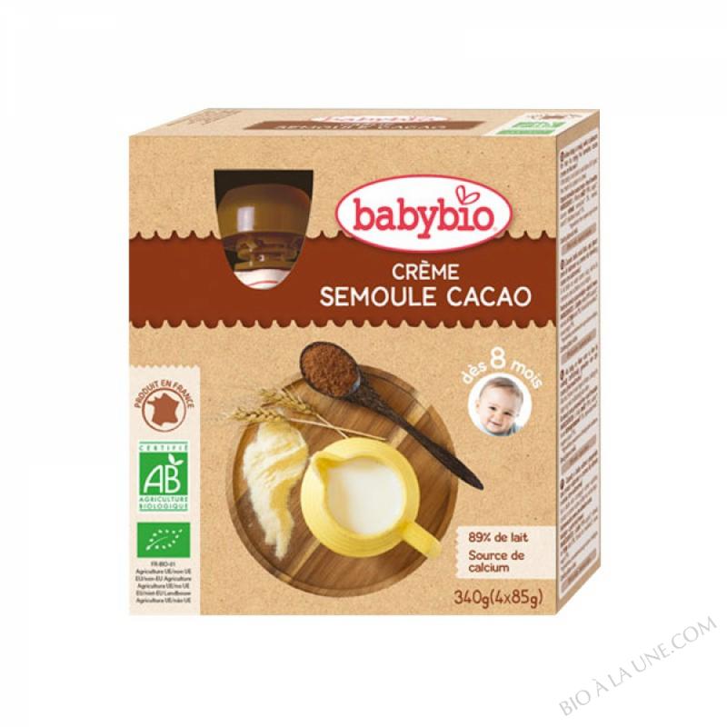 BABYBIO Gourde Crème Semoule Cacao