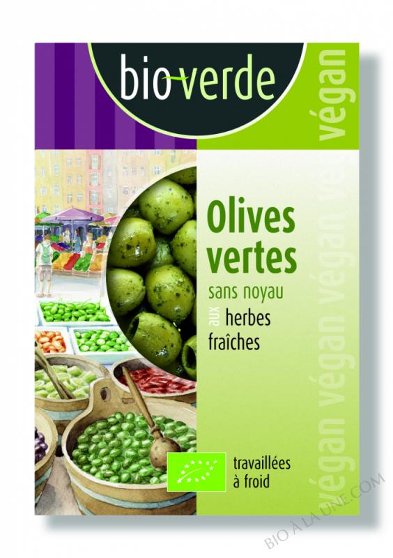 Olives vertes sans noyau Herbes fraîches -150 g