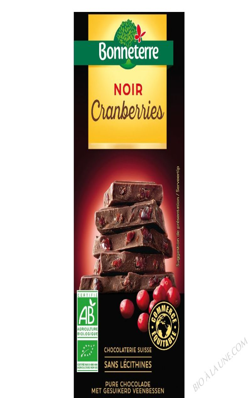 CHOCOLAT NOIR CRANBERRIES - 100 G