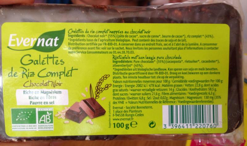 Galettes de Riz Complet au Chocolat Noir 100g