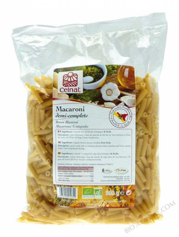 CELNAT Macaroni demi complèts - BIO - 500g