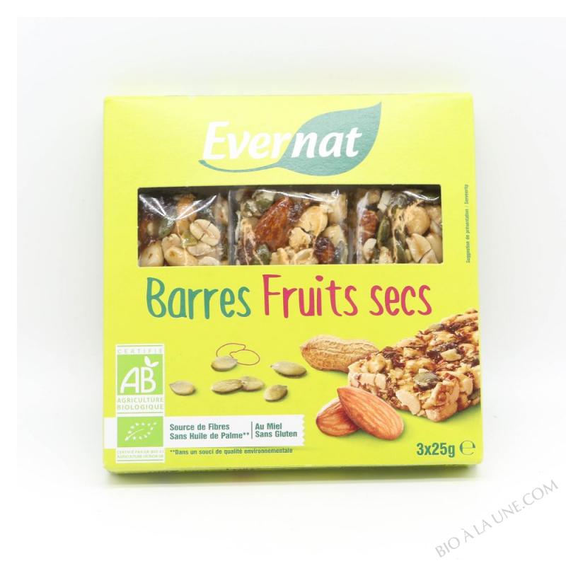 Barres fruits secs 3x25g
