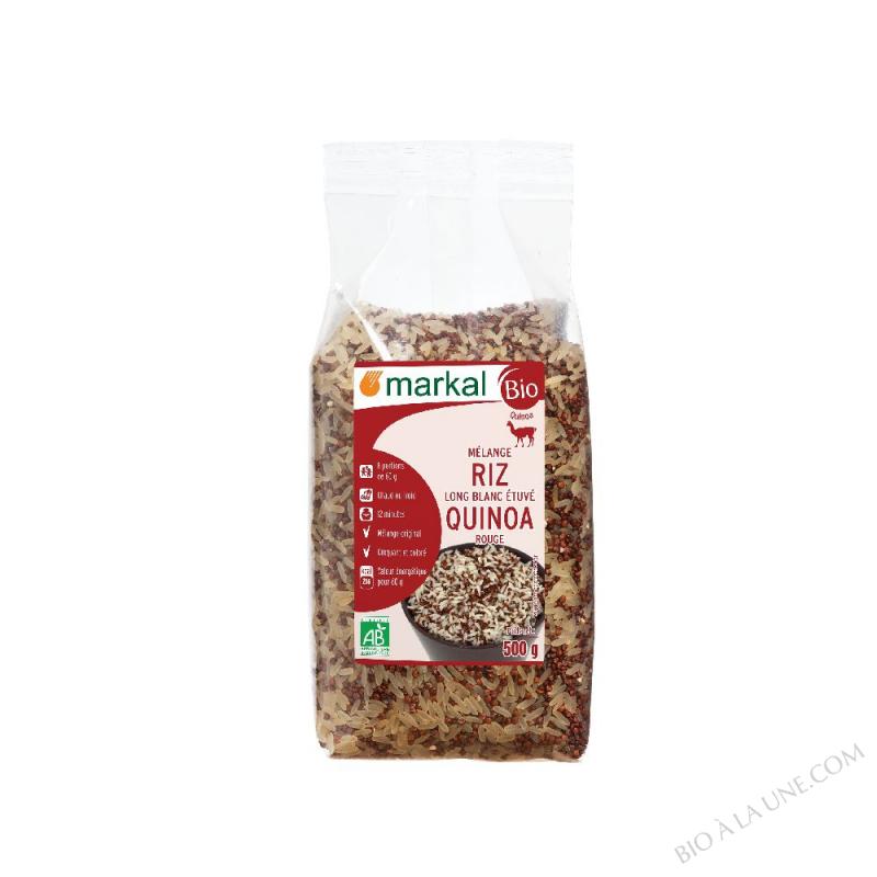 Mélange riz long blanc étuvé -quinoa rouge