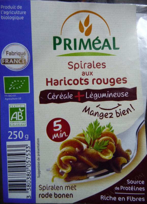 spirales blé haricots rouges - 250 g