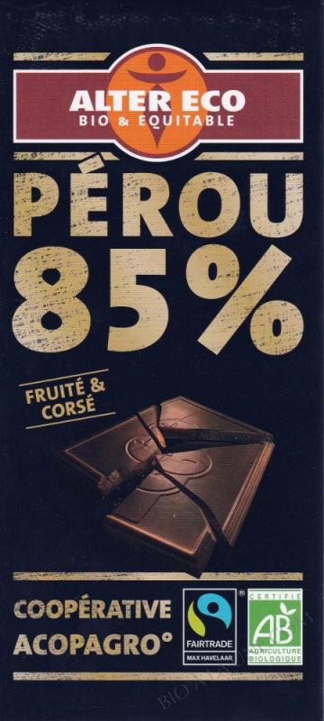 Chocolat Noir Bio 85 % Cacao 100g