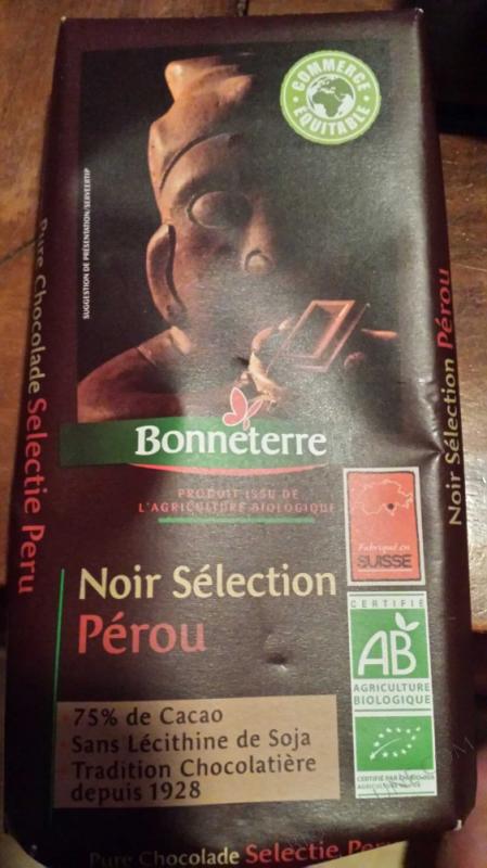 Chocolat Noir Selection Perou 75% 100gr