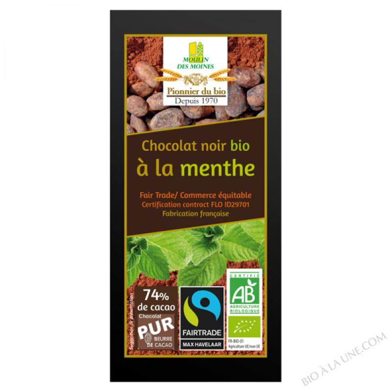 Chocolat noir bio à la menthe - 100g