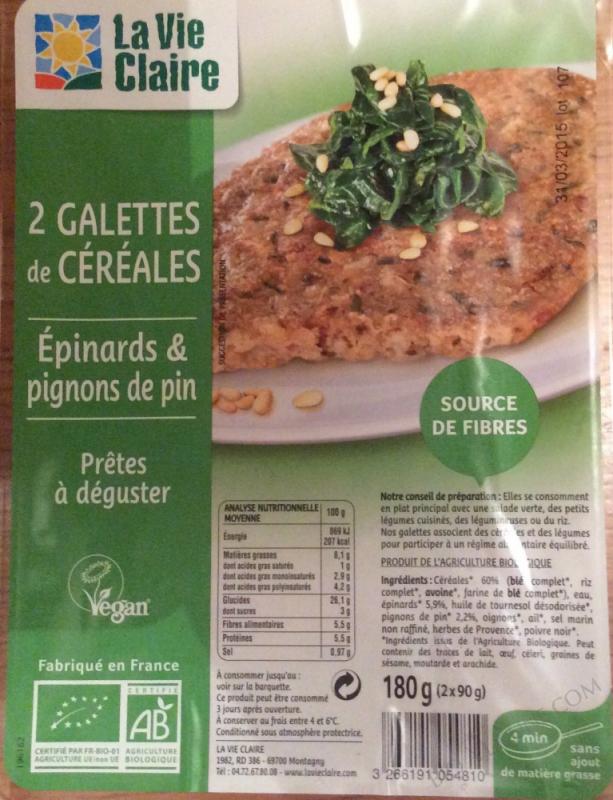 2 galettes de céréales - épinards & pignons de pin- 2 * 90 g (180 g)