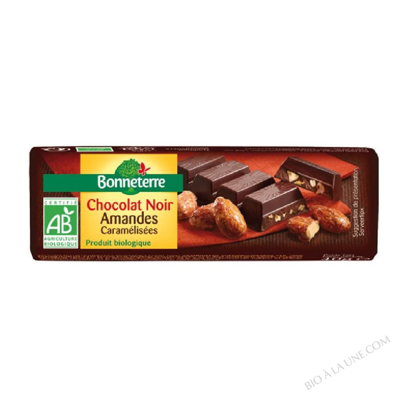 Chocolat Noir Amandes Caramelisees bio 40g