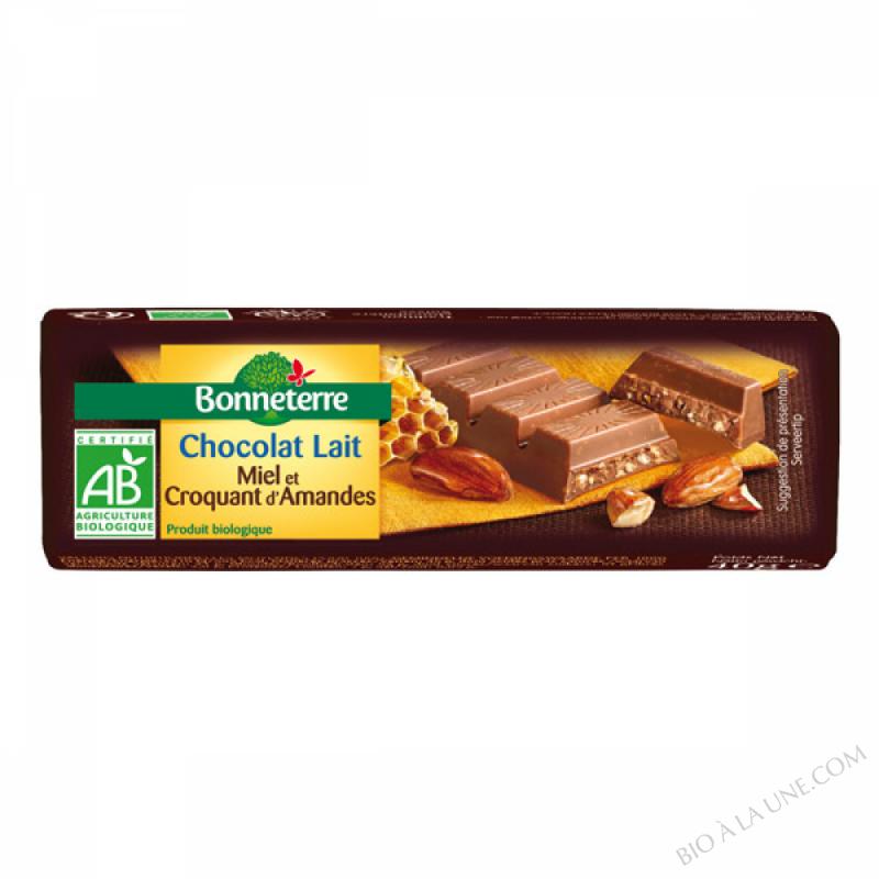 Chocolat Lait Miel Et Croquant d'Amandes bio 40g
