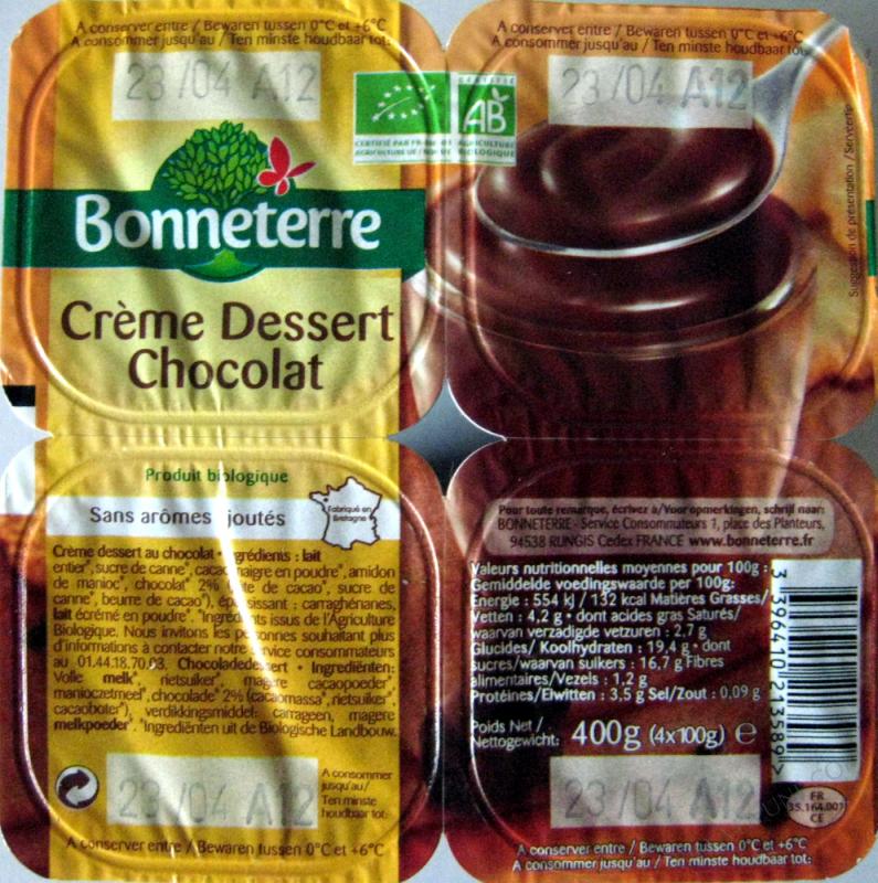 CREME DESSERT AU CHOCOLAT - 4X100 G