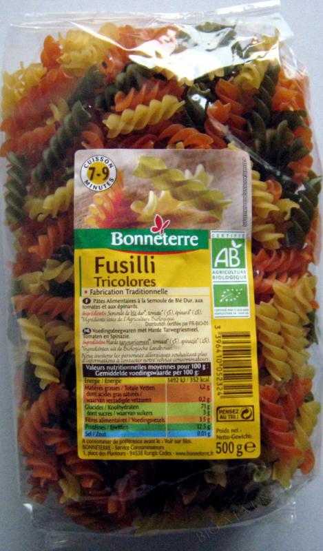 FUSILLI TRICOLORES (TORSADES) - 500 G