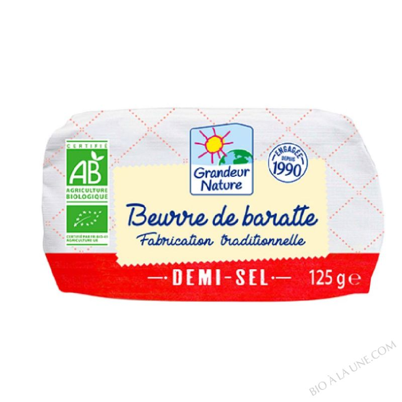 Beurre de baratte biologique demi-sel au sel de Guérande- 125 g