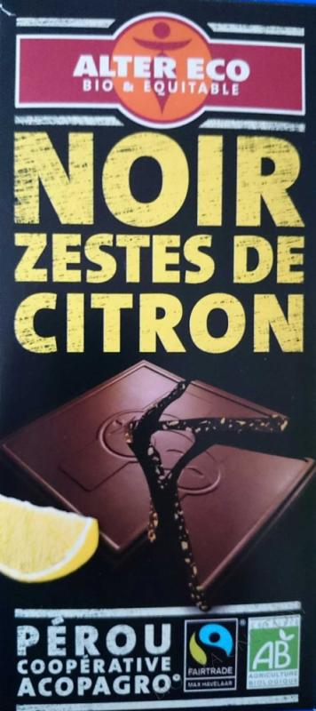 Chocolat noir citron bio
