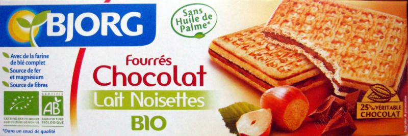 FOURRE CHOCOLAT LAIT NOISETTES 225G