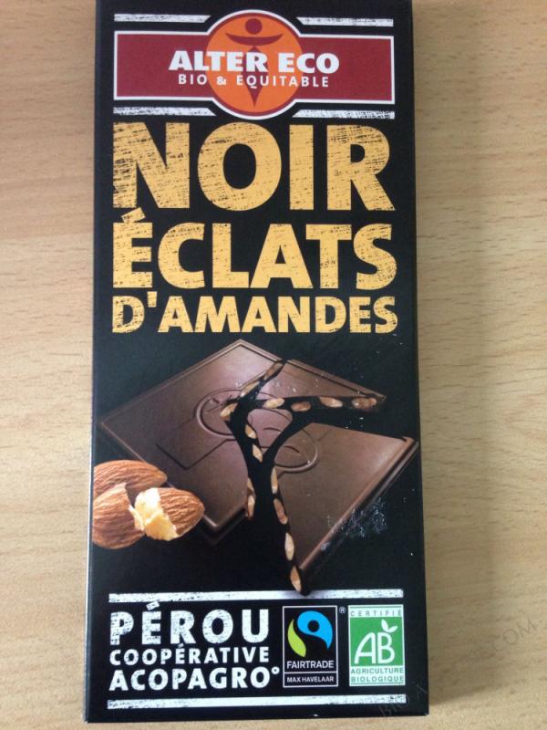 Chocolat noir, éclats amandes- 100g