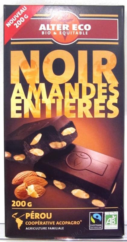 Chocolat Noir Amandes Entieres 200g