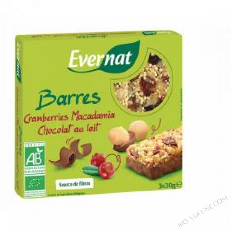 Barres Cranberries Macadamia Chocolat Au Lait 90gr