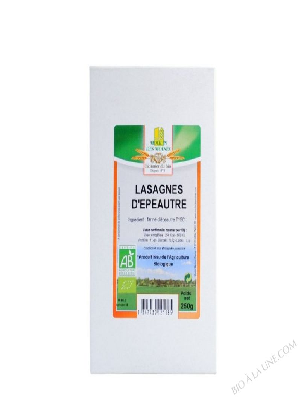 Lasagnes d'épeautre - Pâtes complètes - 250 g