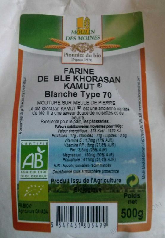 Farine bio de blé Khorasan KAMUT® blanche (blé antique) type 65 - 500 g