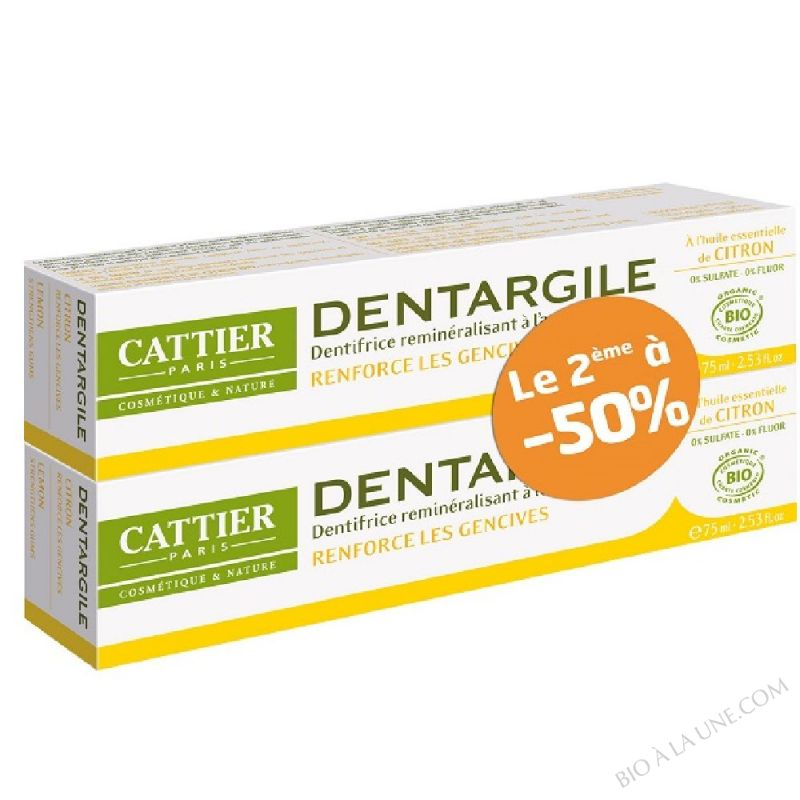 Lot de 2 dentifrices Dentargile Citron