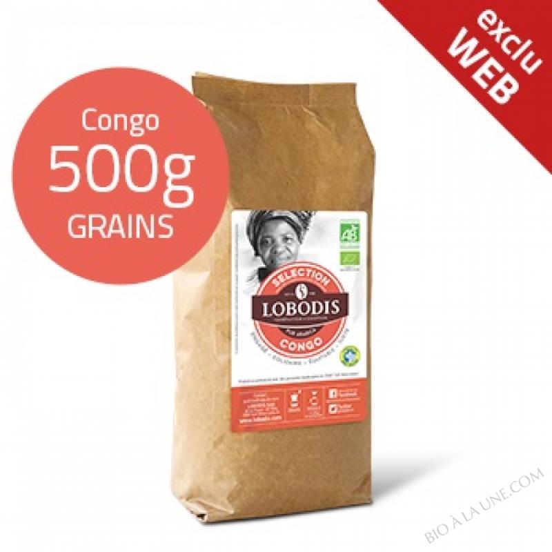 Café Grains CONGO Arabica BIO Pure Origine - Lobodis - 500g