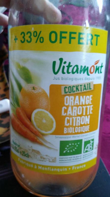 Offre Jus Oranges Carottes Citrons Bio 75cL + 25cL gratuits