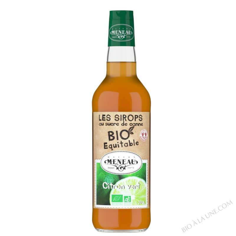 Sirop de citron vert au sucre de canne bio équitable