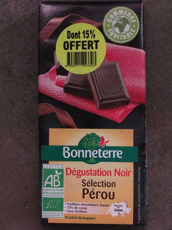 Chocolat noir Pérou dont 15% offert - 100G