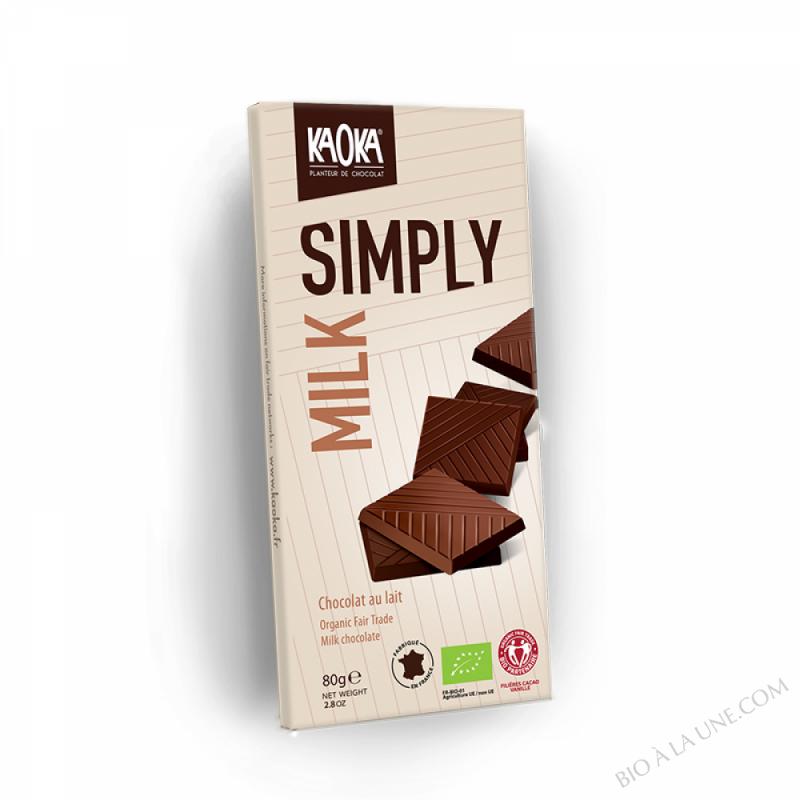 Chocolat au lait bio milk simply - Kaoka - 80 g- 80 g