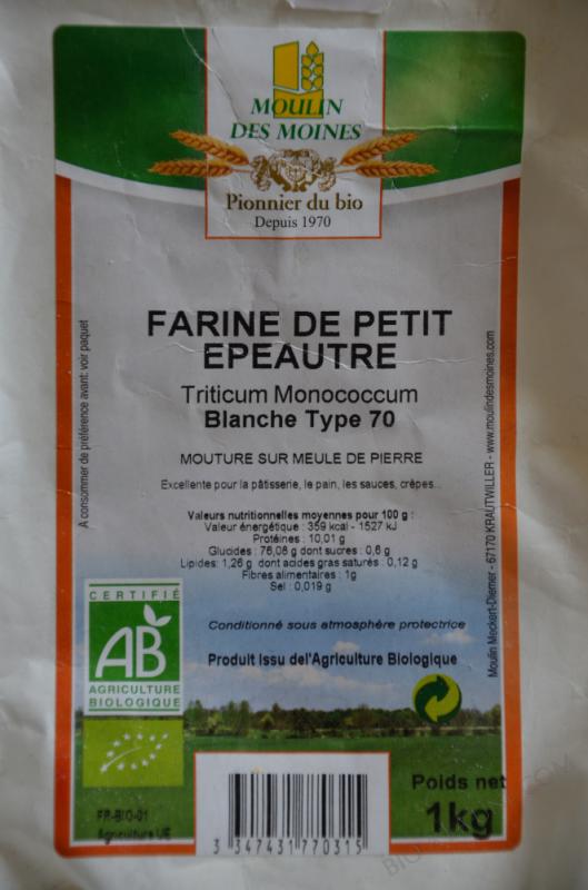 Farine de petit épeautre blanche (extraction 75%) type 65     (ENGRAIN) - 1 kg
