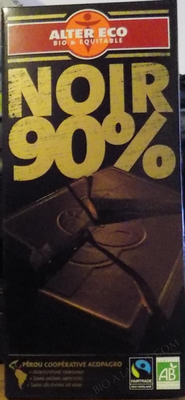 Chocolat Noir Bio 90 % Cacao 100g