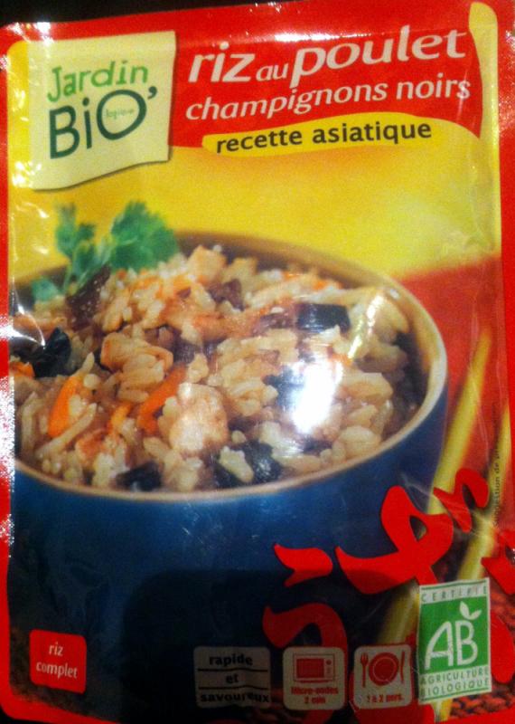 Riz au poulet champignons noirs - Jardin Bio - 250g