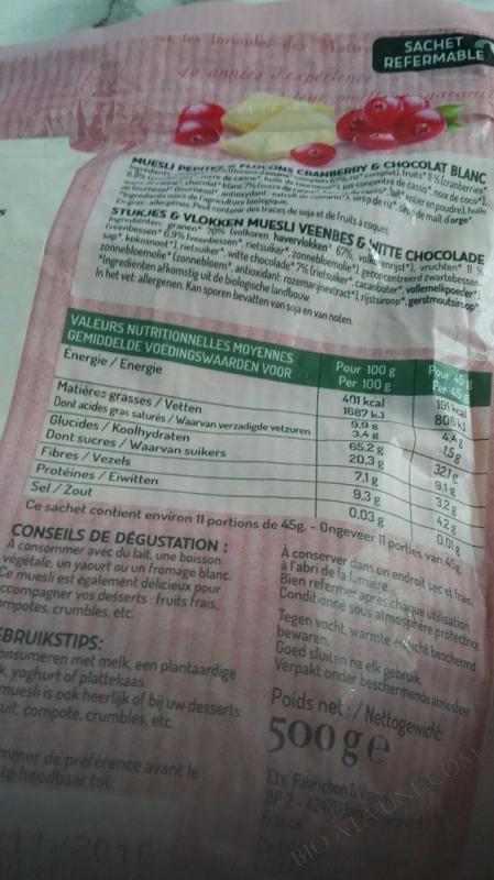 MUESLI PEPITES & FLOCONS CRANBERRY CHOCOLAT BLANC - 500 g