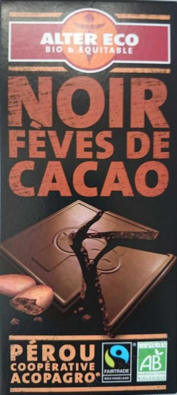 Chocolat noir feves de cacao bio
