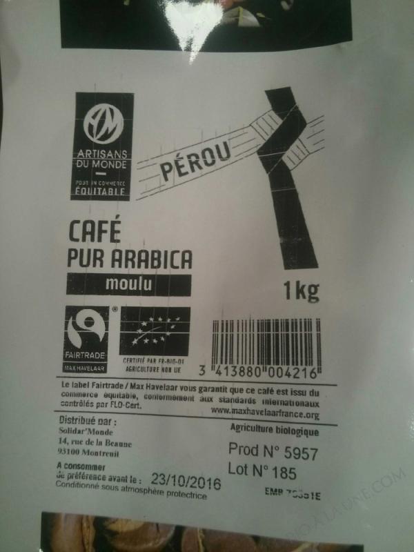 CAFE PEROU MH 1KG SOLIDAR'MONDE