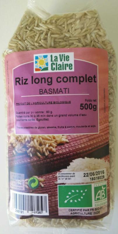 Riz long complet Basmati- 500 g