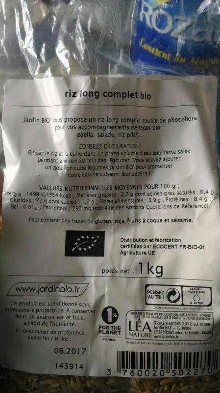 riz long complet bio - 1kg