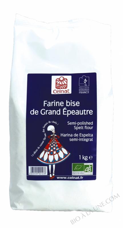 CELNAT Farine bise de Grand Epeautre BIO - 1KG