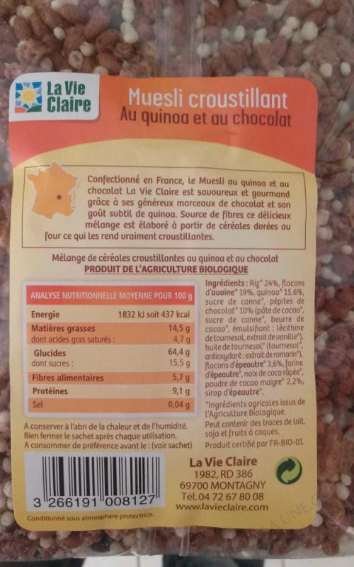 Muesli croustillant au quinoa et au chocolat-