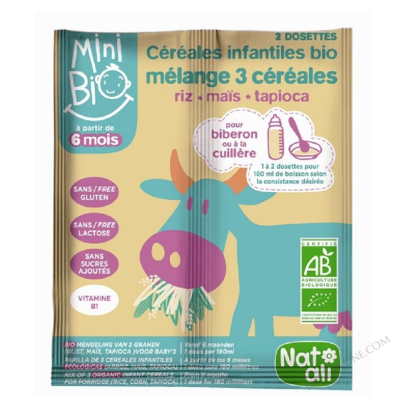 Cereales infantiles bio Melange 3 cereales riz mais tapioca 18g